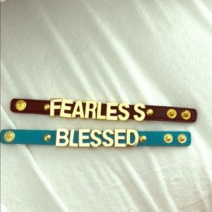 "Jewelry - Leather brackets/cuff ""blessed"" and ""fearless"""